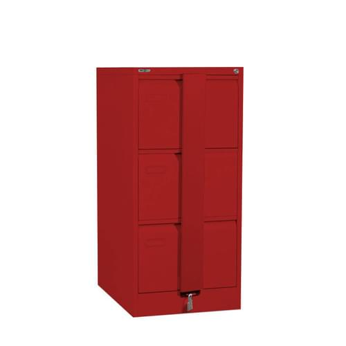 Silverline Executive 3 Drawer Foolscap Filing Cabinet with Security Bar - Red