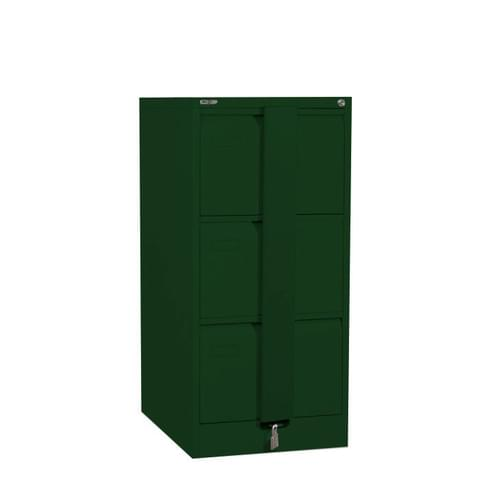 Silverline Executive 3 Drawer Foolscap Filing Cabinet with Security Bar - British Racing Green
