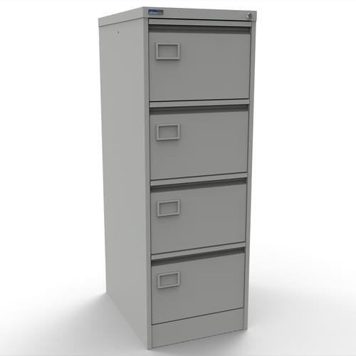 Silverline Executive 4 Drawer Individually Locking Foolscap Filing Cabinet - Light Grey