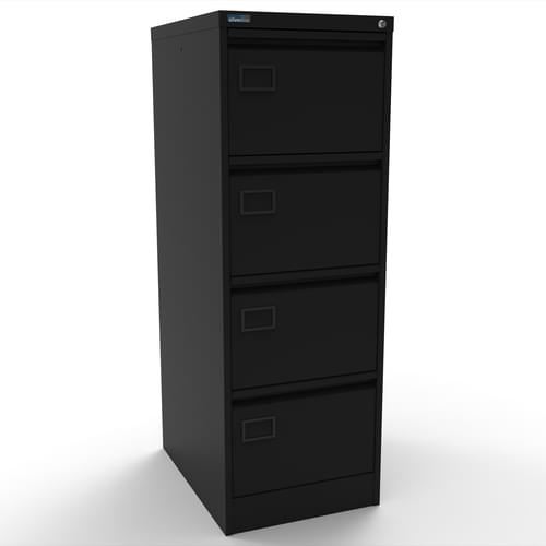 Silverline Executive 4 Drawer Individually Locking Foolscap Filing Cabinet - Black