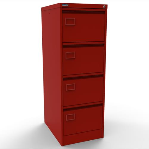 Silverline Executive 4 Drawer Individually Locking Foolscap Filing Cabinet - Red