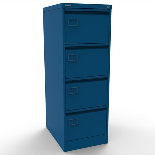 Silverline Executive 4 Drawer Individually Locking Foolscap Filing Cabinet - Blue