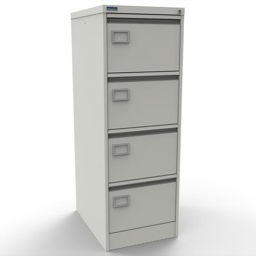 Silverline Executive 4 Drawer Individually Locking Foolscap Filing Cabinet - White