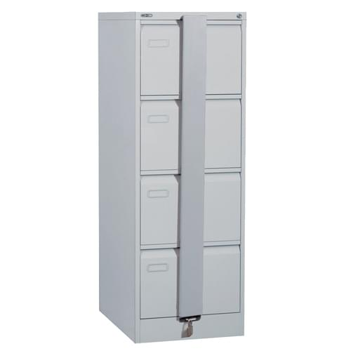 Silverline Executive 4 Drawer Foolscap Filing Cabinet with Security Bar - Light Grey