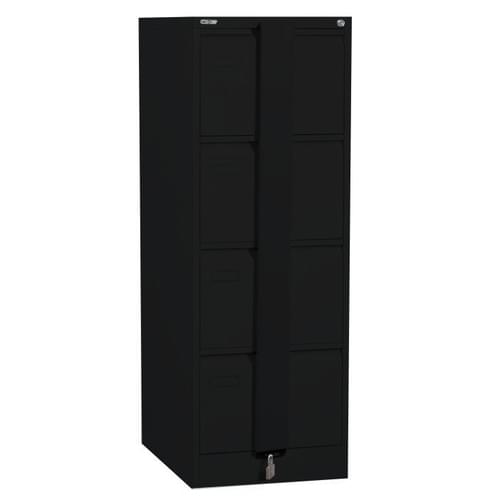 Silverline Executive 4 Drawer Foolscap Filing Cabinet with Security Bar - Black