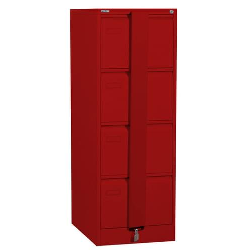 Silverline Executive 4 Drawer Foolscap Filing Cabinet with Security Bar - Red