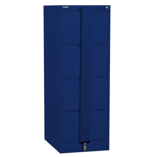 Silverline Executive 4 Drawer Foolscap Filing Cabinet with Security Bar - Blue