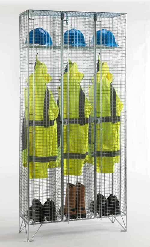 One Door Mesh Locker with High Hat Shelf (1, 2, 3 nested compartments)