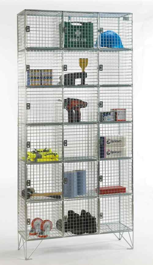 Multi-Door Mesh Locker with Multiple Compartments (Nested 1, 2 or 3 Vertical Units)