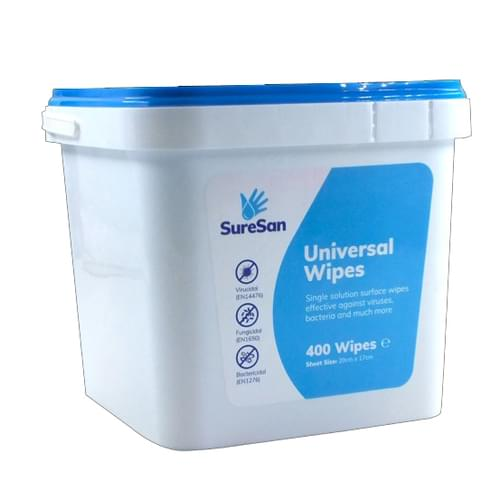 Suresan Anti-Bacterial Universal Wipes Tub of 400 Wipes [Case of 4 Tubs]