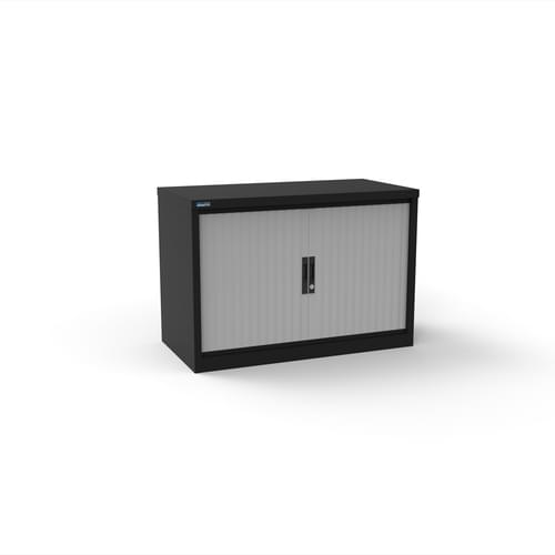 Silverline Kontrax 1200 Wide Side Tambour Cupboard - 690mm x 1203mm x 507mm - Black