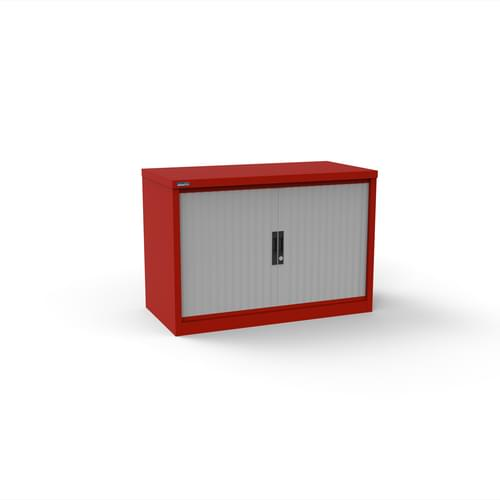 Silverline Kontrax 1000 Wide Side Tambour Cupboard - 690mm x 1003mm x 507mm - Red