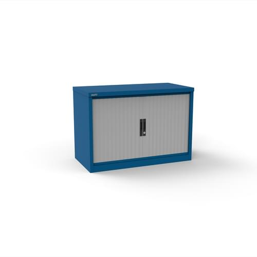 Silverline Kontrax 800 Wide Side Tambour Cupboard - 690mm x 803mm x 507mm - Blue