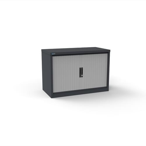 Silverline Kontrax 800 Wide Side Tambour Cupboard - 690mm x 803mm x 507mm - Graphite Grey