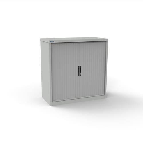 Silverline Kontrax 1200 Wide Side Tambour Cupboard - 1016mm x 1203mm x 507mm - Light Grey