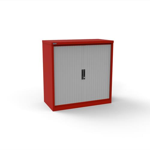 Silverline Kontrax 1000 Wide Side Tambour Cupboard - 1016mm x 1003mm x 507mm - Red