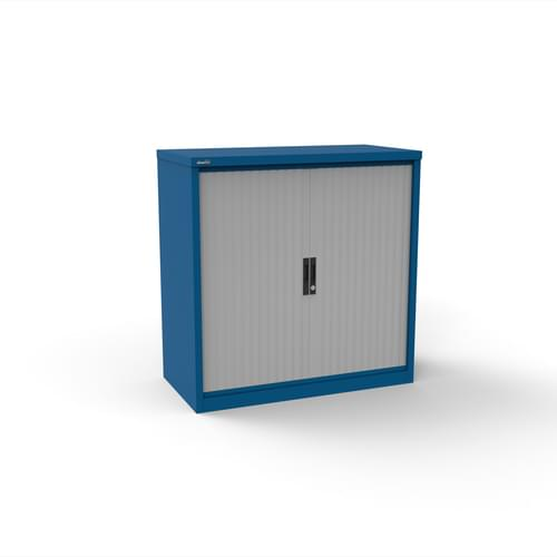 Silverline Kontrax 1000 Wide Side Tambour Cupboard - 1016mm x 1003mm x 507mm - Blue