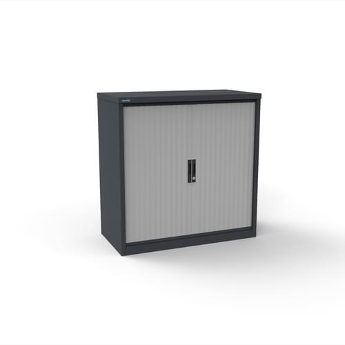 Silverline Kontrax 800 Wide Side Tambour Cupboard - 1016mm x 803mm x 507mm - Graphite Grey