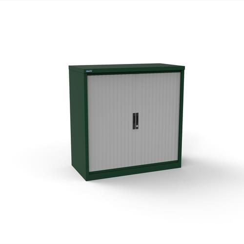 Silverline Kontrax 1200 Wide Side Tambour Cupboard - 1016mm x 1203mm x 507mm - British Racing Green