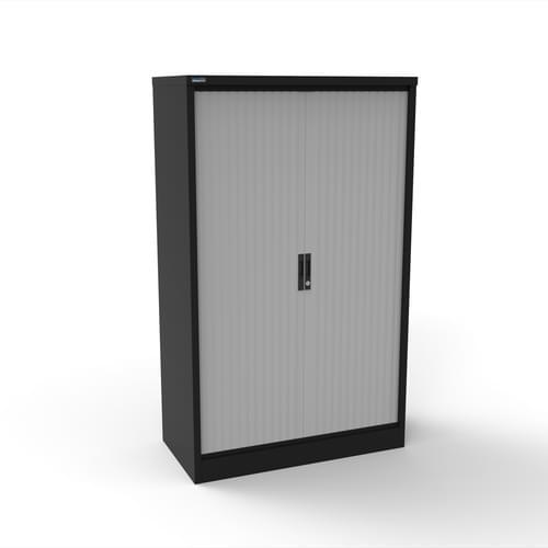 Silverline Kontrax 1200 Wide Side Tambour Cupboard - 1651mm x 1203mm x 507mm - Black
