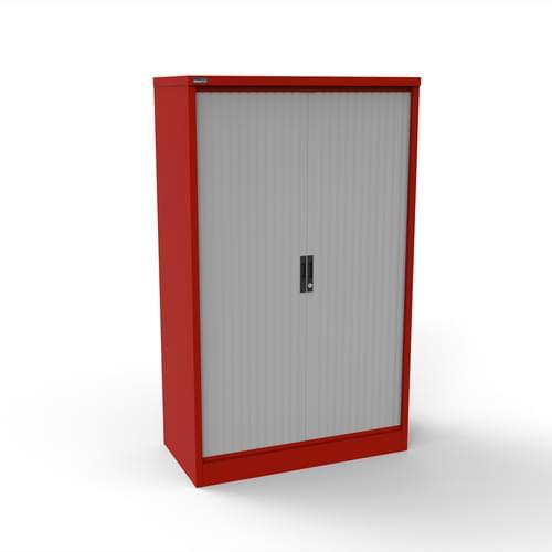 Silverline Kontrax 1200 Wide Side Tambour Cupboard - 1651mm x 1203mm x 507mm - Red