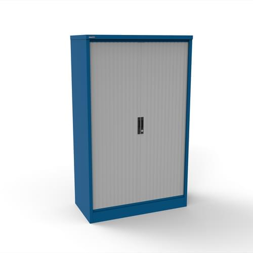 Silverline Kontrax 1200 Wide Side Tambour Cupboard - 1651mm x 1203mm x 507mm - Blue