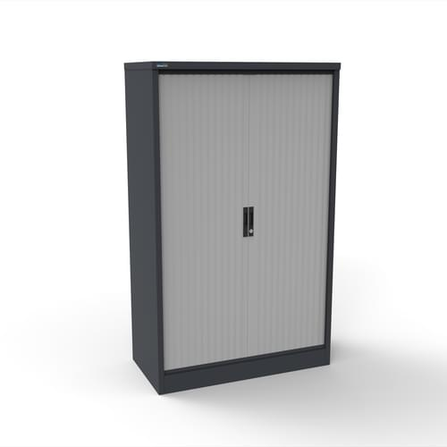 Silverline Kontrax 800 Wide Side Tambour Cupboard - 1651mm x 803mm x 507mm - Graphite Grey