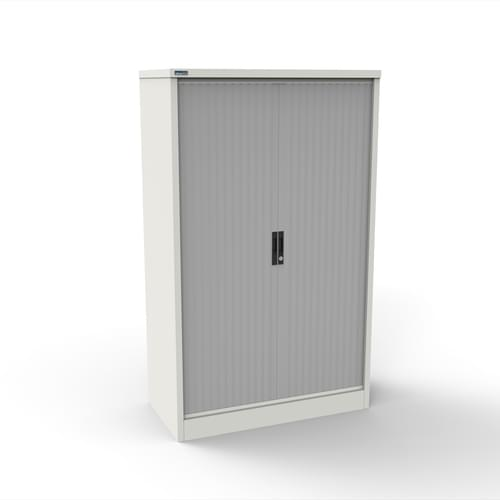 Silverline Kontrax 1200 Wide Side Tambour Cupboard - 1651mm x 1203mm x 507mm - White