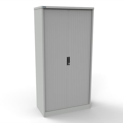 Silverline Kontrax 1000 Wide Side Tambour Cupboard - 2000mm x 1003mm x 507mm - Light Grey