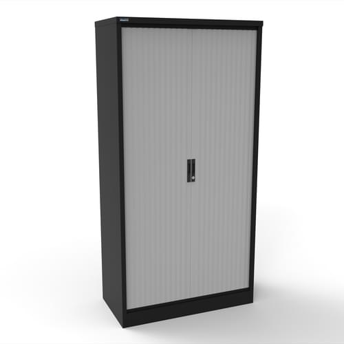 Silverline Kontrax 1200 Wide Side Tambour Cupboard - 2000mm x 1203mm x 507mm - Black