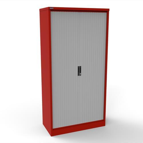 Silverline Kontrax 1000 Wide Side Tambour Cupboard - 2000mm x 1003mm x 507mm - Red