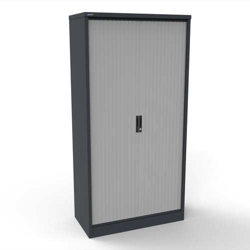 Silverline Kontrax 1000 Wide Side Tambour Cupboard - 2000mm x 1003mm x 507mm - Graphite Grey