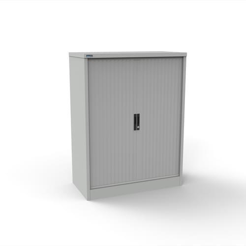 Silverline Kontrax 1200 Wide Side Tambour Cupboard - 1320mm x 1203mm x 507mm - Light Grey