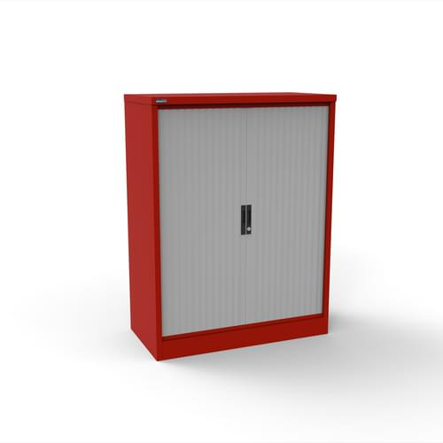Silverline Kontrax 1000 Wide Side Tambour Cupboard - 1320mm x 1003mm x 507mm - Red