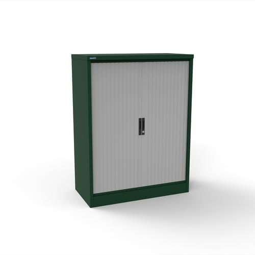 Silverline Kontrax 1000 Wide Side Tambour Cupboard - 1320mm x 1003mm x 507mm - British Racing Green