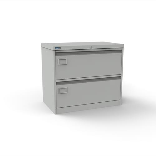Silverline Kontrax 2 Drawer Foolscap Side Filing Cabinet - Light Grey