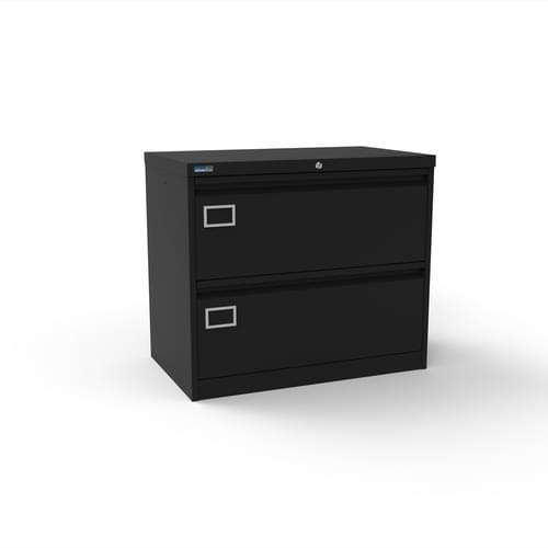 Silverline Kontrax 2 Drawer Foolscap Side Filing Cabinet - Black