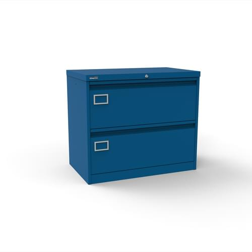 Silverline Kontrax 2 Drawer Foolscap Side Filing Cabinet - Blue