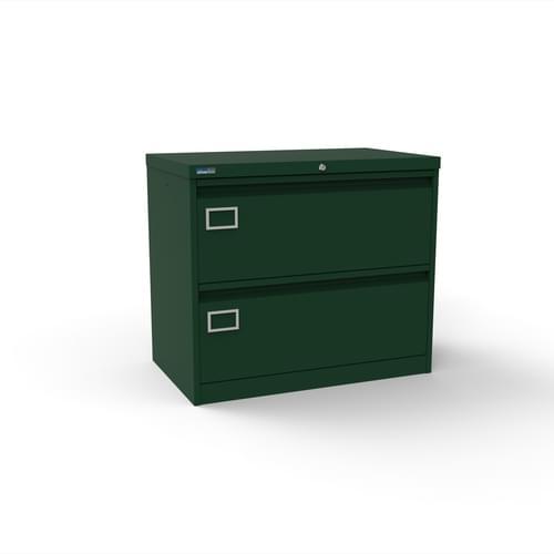 Silverline Kontrax 2 Drawer Foolscap Side Filing Cabinet - British Racing Green