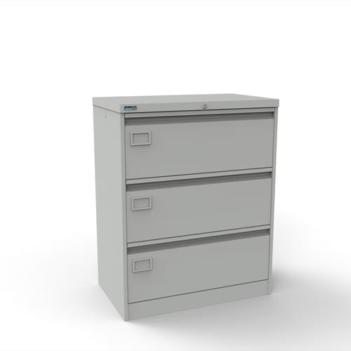 Silverline Kontrax 3 Drawer Foolscap Side Filing Cabinet - Light Grey