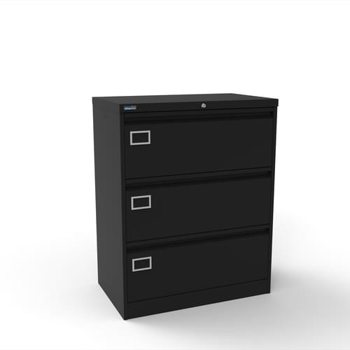 Silverline Kontrax 3 Drawer Foolscap Side Filing Cabinet - Black