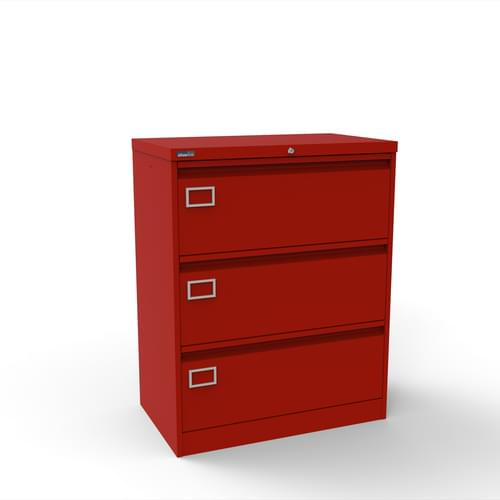 Silverline Kontrax 3 Drawer Foolscap Side Filing Cabinet - Red