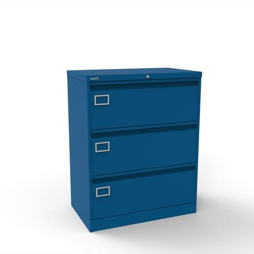Silverline Kontrax 3 Drawer Foolscap Side Filing Cabinet - Blue