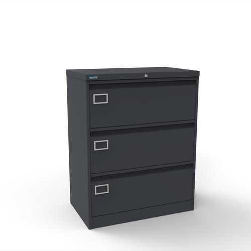 Silverline Kontrax 3 Drawer Foolscap Side Filing Cabinet - Graphite Grey