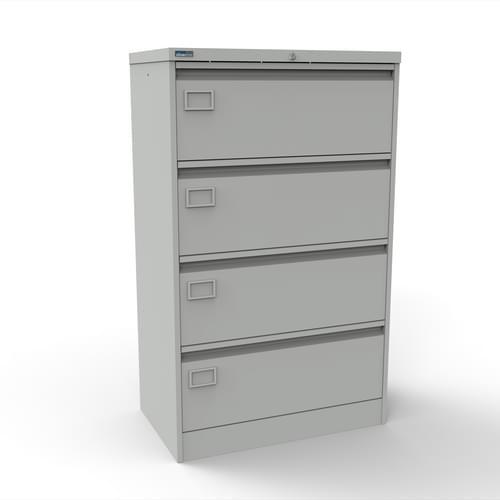 Silverline Kontrax 4 Drawer Foolscap Side Filing Cabinet - Light Grey