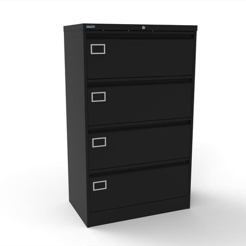 Silverline Kontrax 4 Drawer Foolscap Side Filing Cabinet - Black