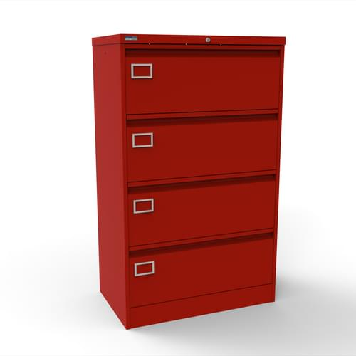 Silverline Kontrax 4 Drawer Foolscap Side Filing Cabinet - Red