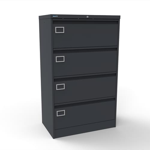 Silverline Kontrax 4 Drawer Foolscap Side Filing Cabinet - Graphite Grey