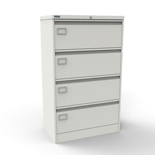 Silverline Kontrax 4 Drawer Foolscap Side Filing Cabinet - White
