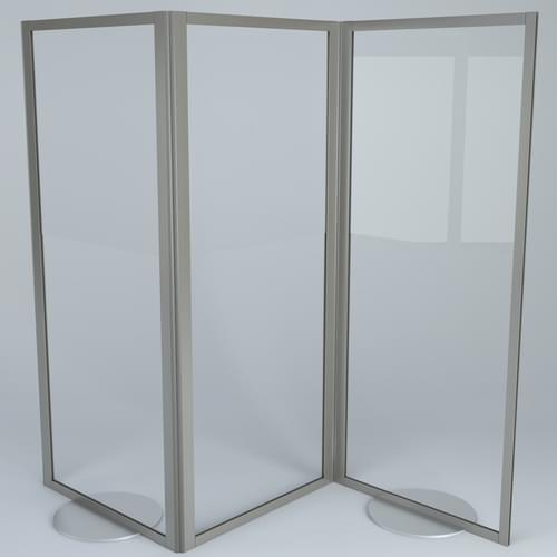 Folding 3 Panel Freestanding Transparent PPE Hygiene Divider Screen - 1800 x 2000mm